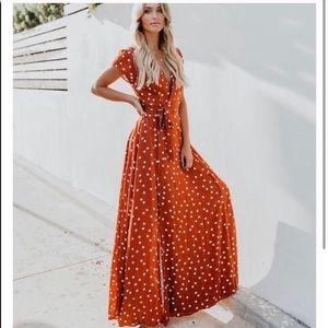 Vici burnt orange wrap dress